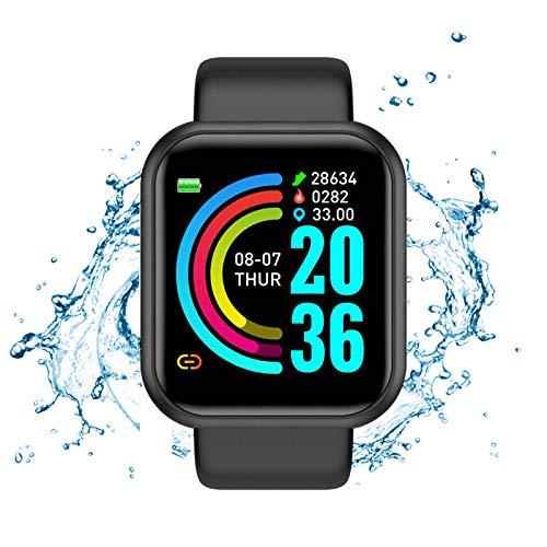 ALIANG Smartwatch, Reloj Inteligente Impermeable para Hombre Mujer niños, Pulsera de Actividad Inteligente con Monitor de Sueño Contador de Caloría Pulsómetros Podómetro para Android iOS,Negro