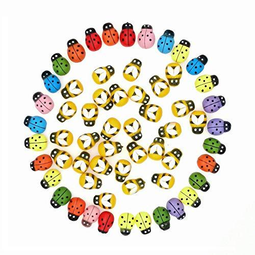 Kleine Bienen und Marienkäfer,100 stk. 9x13mm Mini Holz Biene und 100 stk. 9x13mm Bunte Selbstklebende Marienkäfer Craft Aufkleber für Verschönerung der Kartenherstellung Dekoration Topper