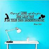 Pegatinas De Pared Versículos De La Biblia Salmo Proverbios 3: 5 Confianza Vinilo Pegatinas De Pared Sala De Estar Tv Fondo Arte Sala De Estudio Decoración 85 * 28Cm