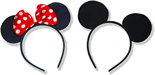 SET OF 2 Mickey Mouse Ears headband and Minnie (miney / mini) mouse ears headband - baby girl - boys headbands - mickey mouse ears bulk - mickey mouse ears adult or kids