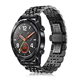 Fintie Armband kompatible mit Huawei Watch GT/Huawei Watch GT 2 46mm/Huawei Watch GT Active/Sport/Classic/Elegant Smartwatch - 22mm Prämie Uhrenarmband Edelstahl Metall Replacement Ersatzband, Schwarz