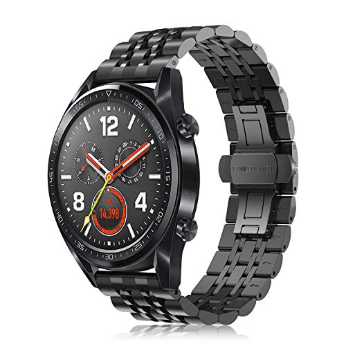 Fintie Armband kompatible mit Huawei Watch GT/Huawei Watch GT 2 46mm / Huawei Watch GT 2e Smartwatch - 22mm Prämie Uhrenarmband Edelstahl Metall Replacement Ersatzband, Schwarz