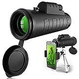 40 x 60 HD Telescopio Monocular, con Soporte para Smartphone y Trípode IPX7 Materiales Impermeables, para Fútbol Pájaros Turismo Caza Senderismo Conciertos Viaje Navegación a Prueba de Nieble