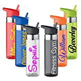 Personalised Custom Water Drink Bottle with Flip Straw - Any Name, Word, Business, Sports, School, Promotional Merchandise