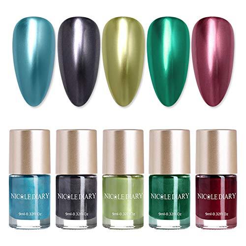 NICOLE DIARY 5 Flaschen Metallic Nagellack Spiegeleffekt Lack bunter glänzendes Metall Nagellack Maniküre Lack für Nail Art Salon Starter Maniküre Weihnachtsgeschenke (5 Farben)