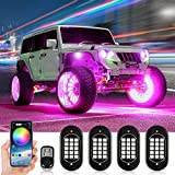 KEYMAO RGB LED Rock Lights Multicolor Underglow Neon Lights Waterproof 60 LEDs Car Light Kit with RF/APP Control Music Mode Timing Function for Truck Jeep Off Road Car UTV ATV SUV 4 Pods
