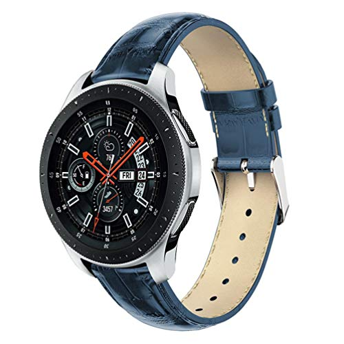 HappyTop coccodrillo grana pelle orologio da polso per Samsung Galaxy 46mm Tiktok Wristband Watch Band Clearance, unisex, Blue
