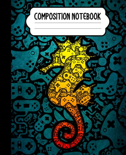 Composition Notebook: Video Game Controller Seahorse Notebook | Wide-Ruled, 7.5 x 9.25, 110 Pages Journal / Notebook For Kids, Teens, Gamers and Adults