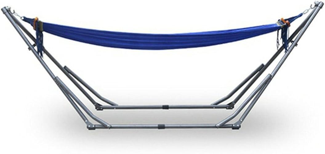 OOBY Hamac en Tissu avec Support, Hamac Bleu avec Support en Acier Pliant Stand-Outdoor Portable Chaise Pivotante Voyage-Bleu ET Vert