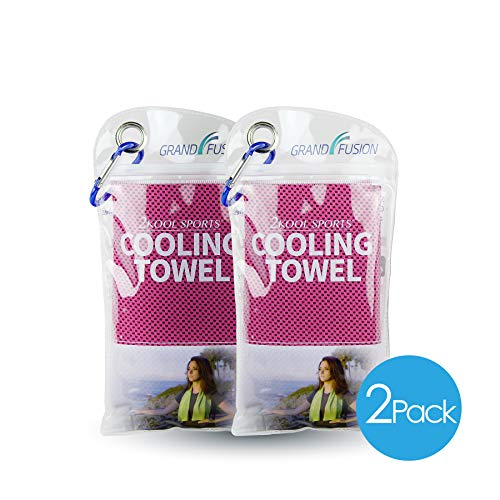 2Kool Sports Cooling Towel 2 Pack Pouch with Carabiner - Hot Pink for Sports, Workout, Yoga, Fitness, Gym, Pilates, Travel, Camping & More (Hot Pink)