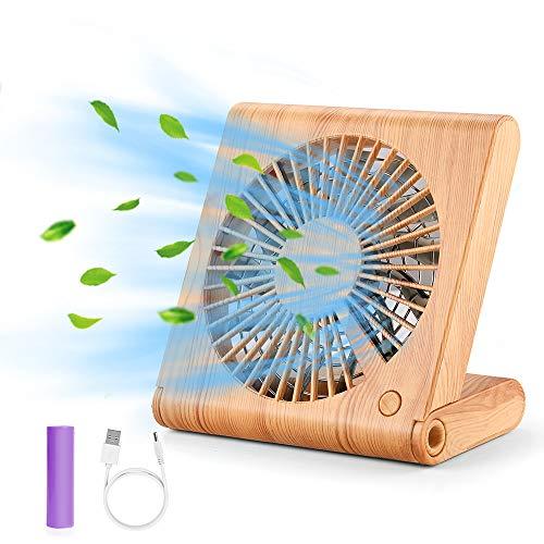 GeeRic USB Ventilator 3 Geschwindigkeit Wiederaufladbar Tischventilator Fan Lüfter den Schreibtisch Ventilator für das Büro,ideal für Büro Schreibtisch und Kinderzimmer-Brown