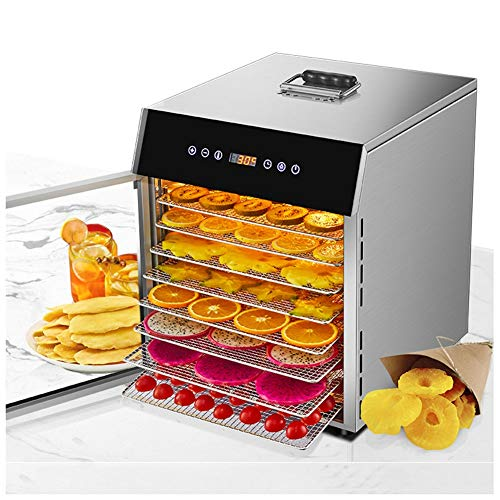Fiambrera calentadora de fruta seca, adecuada para frutas y verduras y carne de animales, 8 capas de gran capacidad, 24 horas tiempo tiempo tiempo inteligente, temperatura 35 °C -90 °C