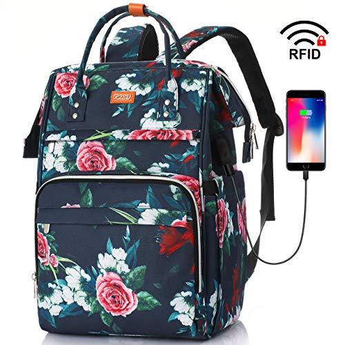 Rucksack Damen,Schulrucksack Mädchen Teenager mit RFID Tasche & USB-Ladebuchse,Laptop Rucksack Schule mit 12-16 Zoll Laptopfach für Frauen,Freizeit,Uni,Arbeit,Reisen(Blume)