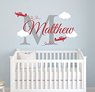 Custom Airplane Name Wall Decal - Boys Kids Room Decor - Nursery Wall Decals - Airplanes Stickers