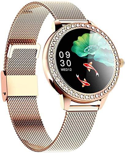 Reloj inteligente con monitor de ritmo cardíaco para mujer, impermeable, IP68, monitor de actividad, podómetro, monitor de sueño, cronómetro, contador...