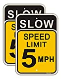 Slow Speed Limit 5 MPH Sign, Slow Down Sign, 18 x 12 Inches Traffic Sign, Engineer Grade Metal Reflective Sturdy Rust Aluminum Weather Resistant Waterproof Durable Ink Easy to Install 2 Pack