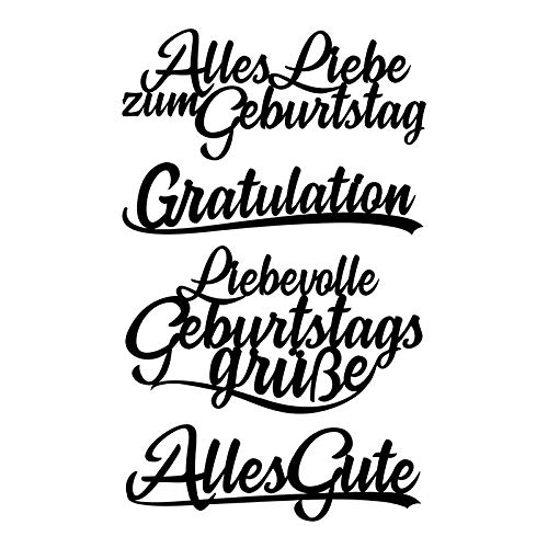Stanzschablonen, Schriften, Geburtstagswünsche, 2,5cm bis 8,3cm, 4 Stück