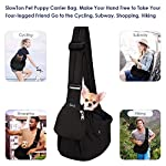 SlowTon Pet Sling Carrier, Dog Papoose Hand Free Puppy Carry Bag with Bottom Supported Adjustable Padded Shoulder Strap and Front Zipper Pocket Safety Belt for Small Pet Daily Use (Waterproof Black) 9