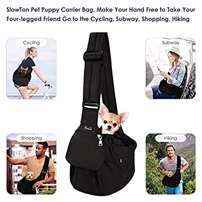 SlowTon Pet Sling Carrier, Dog Papoose Hand Free Puppy Carry Bag with Bottom Supported Adjustable Padded Shoulder Strap and Front Zipper Pocket Safety Belt for Small Pet Daily Use (Waterproof Black) 2
