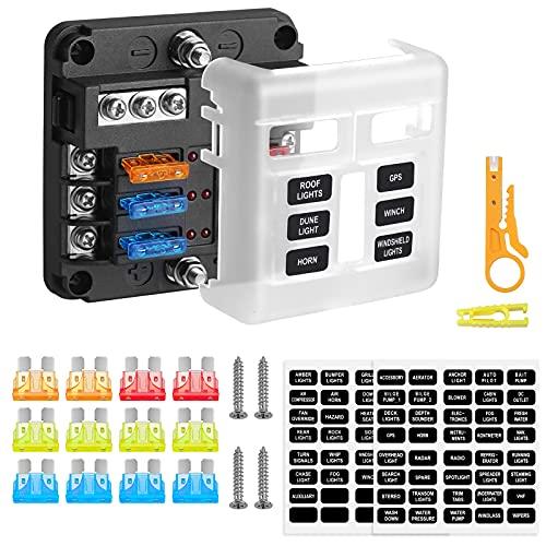 Rovtop Caja Fusibles 12v de 6 Vías, Portafusibles Coche, Circuito Independiente, Indicador LED, Adecuado Para Todas las Modificaciones de Vehículos en el Mercado.
