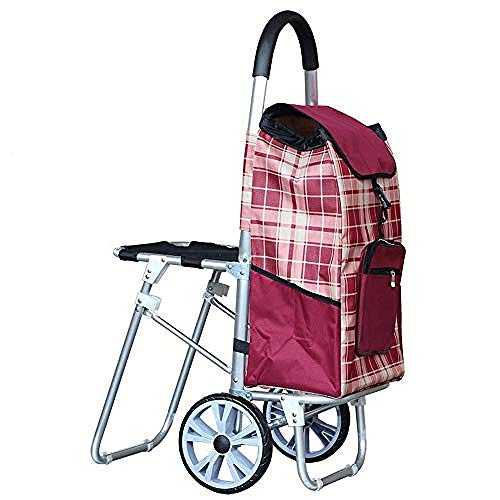 Draagbare vouwwagen met twee rollende wielen en ingebouwde stoel, RVS frame klimwagen voor Wasserij, Kruidenier, Winkelen en Meer Rood
