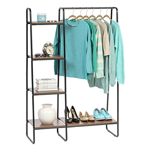 IRIS USA Metal Garment Rack with Wood Shelves, Black/Dark Brown PI-B3