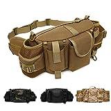 ANTARCTICA 1050D Large Military Tactical Waistbag Bag Fanny Pack Sling Pack Range Bag EDC Camera Bag with Shoulder Strap for Outdoor,Sports,Jogging,Walking,Hiking,Cycling (Tan)