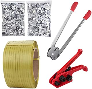 Lifeisbetter Pallet Packaging Strapping Banding Kit Tensioner Tool Sealer Tool 12mm1000M Coil Reel for Packing
