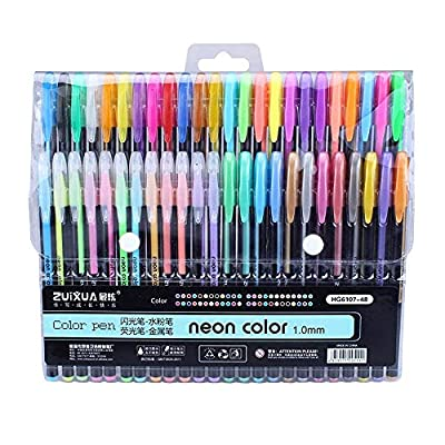? Dergo ? 48 Colors Gel Pens set Color Glitter Metallic pens gift For Kids Drawing