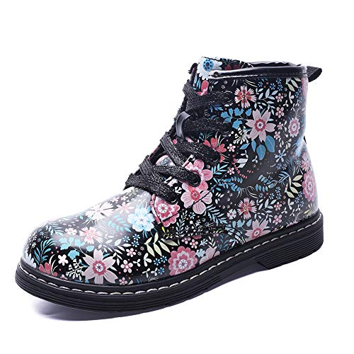 Kid's Floral Side Zipper Ankle Boots, Waterproof Hiking Rain Shoes, Black, 9.5 M US Toddler