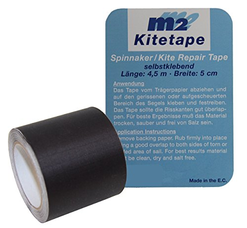 M2 Kitetape - selbstklebendes Spinnaker Reparatur Tape für dünnes Spinnaker Segel Textilien Flicken Band - Nylon 5cm x 4,5 Meter - schwarz Black