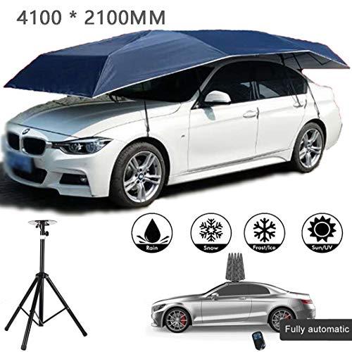 GJZhuan Auto Zelt Abdeckung Bewegliche Carport Regenschirm, Anti-UV Sun Beweis wasserdicht atmungsaktiv Auto Sonnenschirmdach, Sunproof Fahrzeugabdeckungen,Blue-4100MM