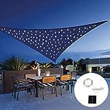 HYISHION con Luz LED Toldo Vela De Sombra, toldo Vela de Sombra 100% Polietileno de Alta Densidad Filtro UV Incl Cuerdas Nylon,Azul,3 * 3 * 3m