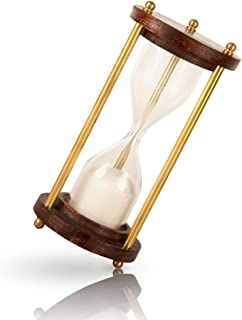 """1-2 Minute Hourglass Sand Timer Clock With Sparkling White Sand 4.5"""" Wooden & Brass Vintage Antique Style Nautical Collectors Gift Decorative Souvenir Unique Creative Gifts For Home Office Study Desk"""