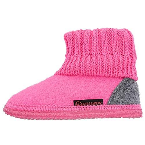 Giesswein Chausson Kramsach Kids Pink 24 - Chaussures de cabane pour Enfants Unisexes, Pantoufles en Feutre Chaud, Chaussons en Laine Haute pour Filles et garçons, antidérapantes