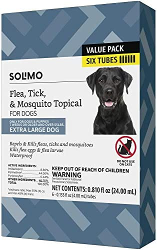 Amazon Brand Solimo Flea Tick Mosquito Topical for XLarge Dogs over 55 pounds 6 Count product image