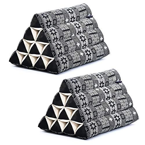 Leewadee Set de 2 Almohadas Triangulares tailandesas – Respaldos Hechos a Mano para Leer, Cojines de kapok Natural, 50 x 33 x 33 cm, Set de 2, Negro