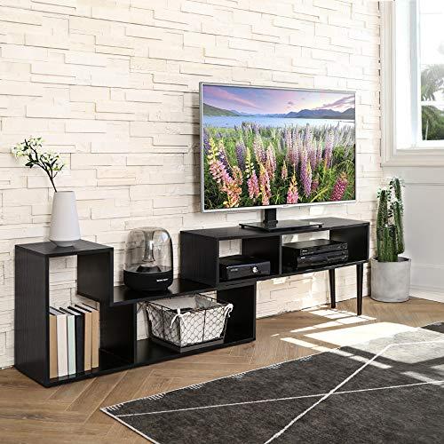 FITUEYES Porta TV versatile, Console TV Legno, Centro di intrattenimento moderno Mid-Century per TV a schermo piatto Console per giochi via cavo, Soggiorno Sala da intrattenimento Ufficio (Nero)