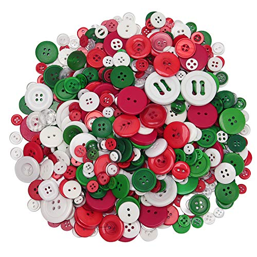 Livder 300g Christmas Craft Buttons Handmade Sewing Button with 2 or 4 Holes for Sewing, Art Crafts Projects, DIY Decoration