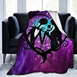 Flannel Fleece Throw Blanket for Spring Bed Sports, Super Cozy Mother of Nightmares Jack and Sally Love Moon Drawing Moving Throw, Quality Wrinkle-Resistant 50x40 Inch