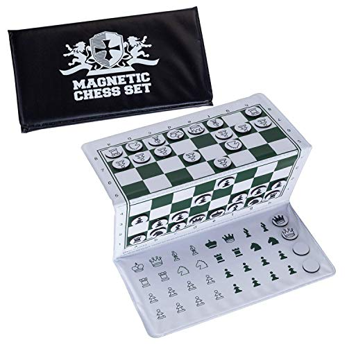 WE Games Mini juego de ajedrez de bolsillo magnético con logotipo blanco - 6 x 3.25 pulgadas.