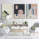 Pintura de lienzo de edificio retro abstracto cuadro de arte de pared para sala de estar cartel literario nórdico cuadro de decoración 40x60cmx3 sin marco
