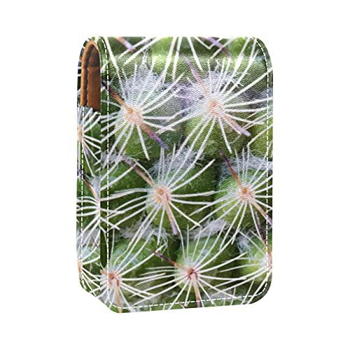 Gros Plan du Papier Peint des Plantes de Cactus Imprime l'étui à Rouge à lèvres Mini Sac Organisateur de Support de Rouge à lèvres avec Miroir pour Sac à Main Pochette cosmétique de Voyage