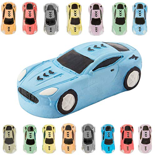 KINIA 15 Jumbo Race Car Sidewalk Chalk ~ Party Favors Goody Bag Pack ~ Birthdays, Easter, Christmas & More ~ Individually Wrapped ~ Washable ~ Beautiful Gift Box (Race Car Multicolor)