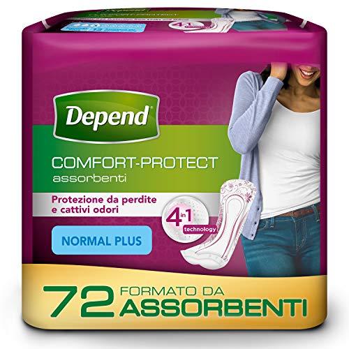 Depend Comfort-Protect Assorbenti Donna, Protezione Normal Plus, Confezione da 72 Pezzi