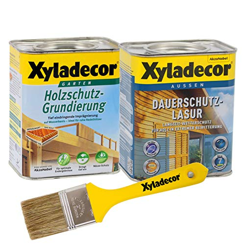 Xyladecor Dauerschutzlasur und Grundierung, UV Holz-Lasur für außen im Set, mit Pinsel (1x 0,75L + 1x 0,75L, teak)