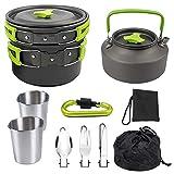QAZWSX Camping Cooker Pan Set Juego de Utensilios de Cocina de Aluminio para 2 Personas, Olla portátil para ollas al Aire Libre para Picnic, Senderismo y Senderismo-Green