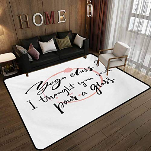 Household Decorative Floor mat,Sarcastic Saying Class I Thought You Said Pour a Glass and Wine Trace,Indoor Outdoor Patio Rugs,Washable Indoor and Outdoor Rug