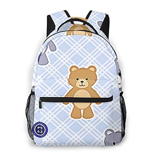 Laptop Rucksack Schulrucksack Tierbären Buttons, 14 Zoll Reise Daypack Wasserdicht für Arbeit Business Schule Männer Frauen