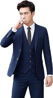 SIHANG スーツ メンズ 2つボタン スリーピーススーツ 3点セット スタイリッシュ スリムスーツ 洗えるスラックス ウォッシャブルパンツ ビジネススーツ オールシーズン 春夏秋冬